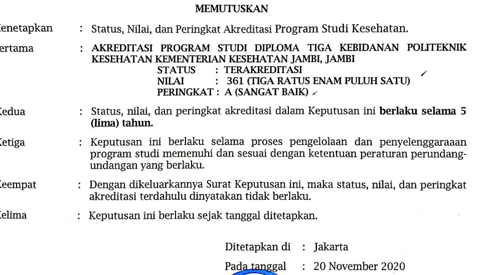 SK Akreditasi D3 Bidan